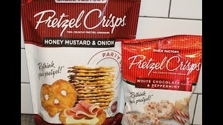 Snack Factory Pretzel Crisps Part Vi Honey Mustard & Onion & White Chocolate Peppermint Review