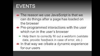 Introduction to JavaScript and events, simple example of onload event