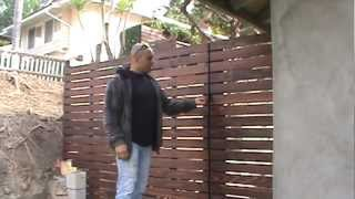 Custom Redwood Horizontal Fence, Driveway & Pedestrian Gates Project Los Angeles Area, Part 2