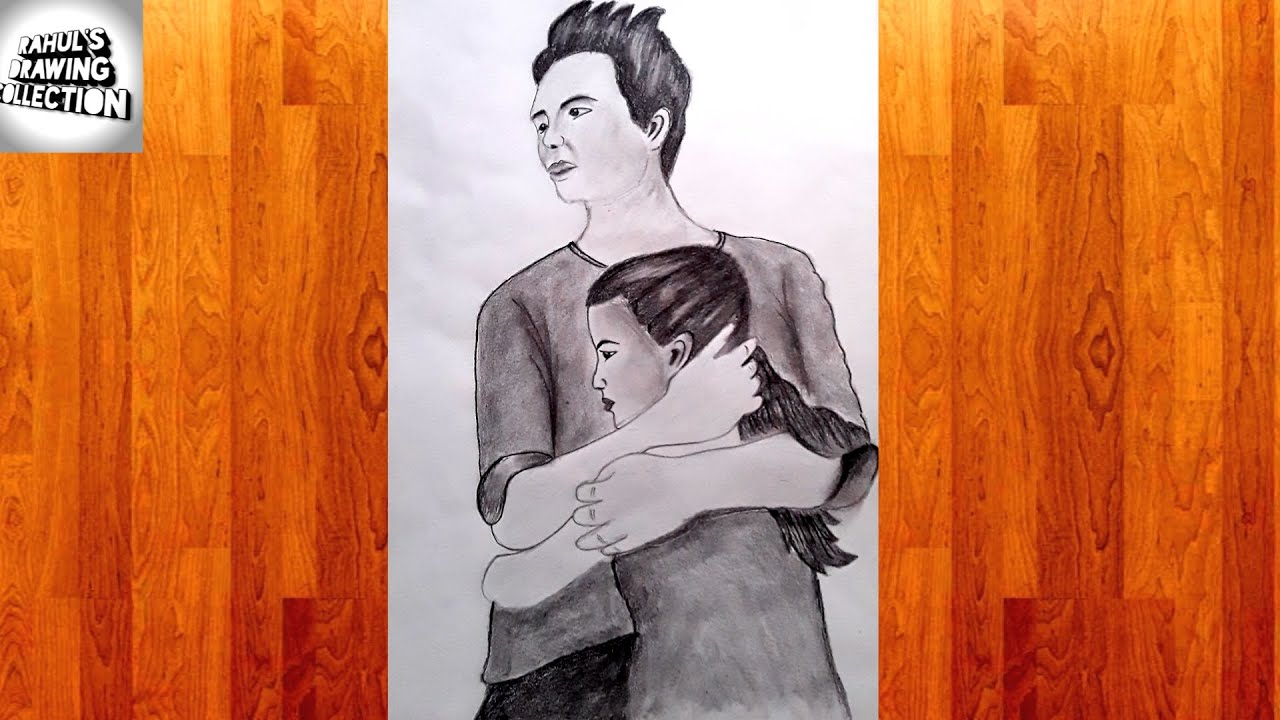 How to draw elder brother and sister pencil sketch by ...
