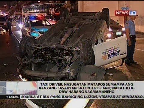 BT: Taxi driver, nasugatan matapos sumampa ang kanyang sasakyan sa center island