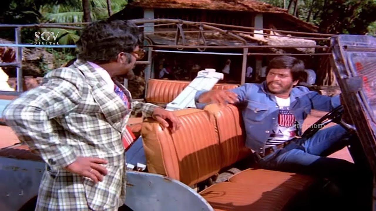 Shankar Nag Wins Car Driving Challenge With Sundar Krishna Urs   Seetharamu Kannada Movie Scene