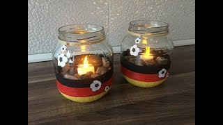DIY WM Kerzenglas, Fußball Windlicht, einfach und schnell