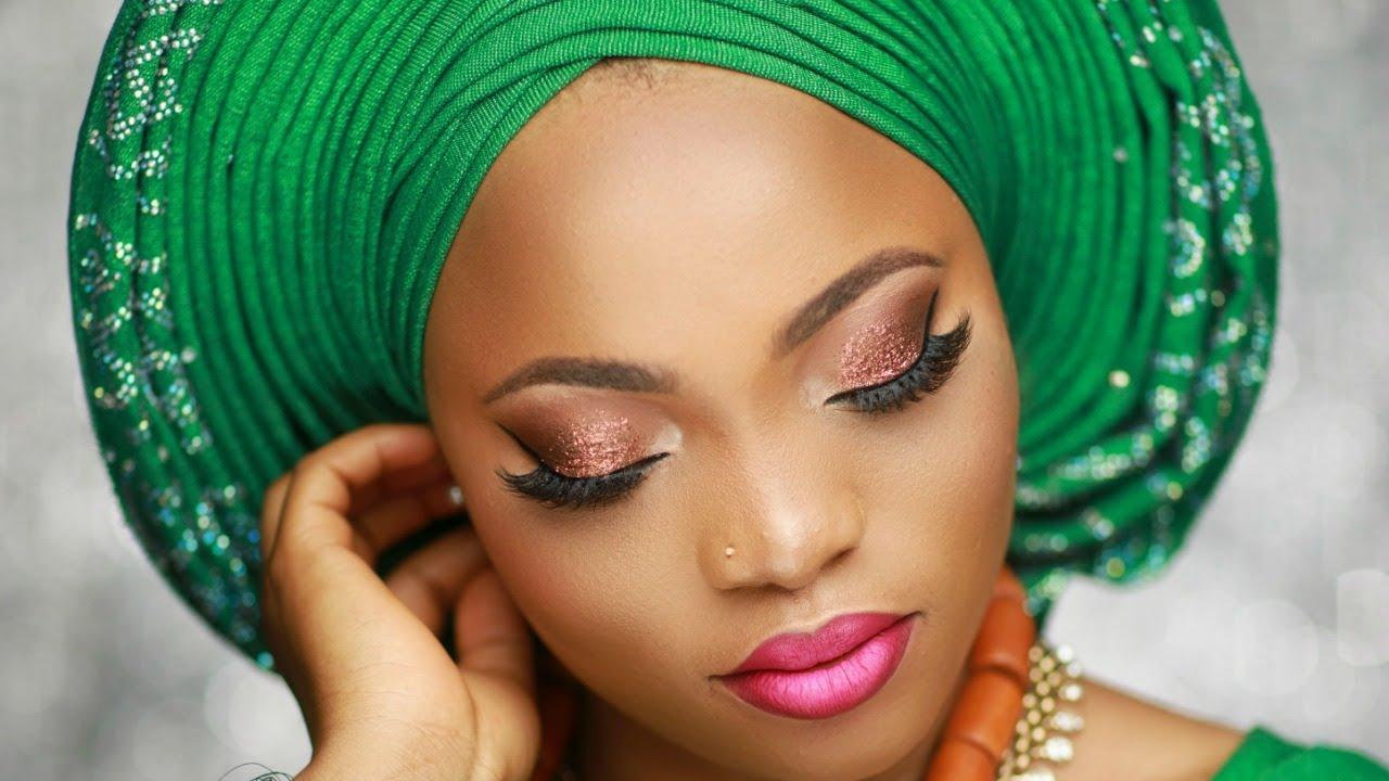 nigerian bridal makeup tutorial / pleated gele.