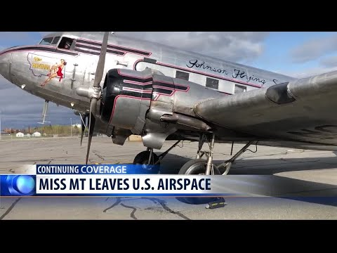 Miss Montana leaves U.S. airspace