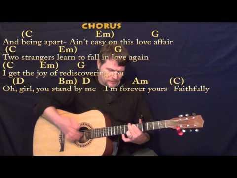 Faithfully (Journey) Strum Guitar Cover Lesson with Chords/Lyrics- Capo 4th Fret