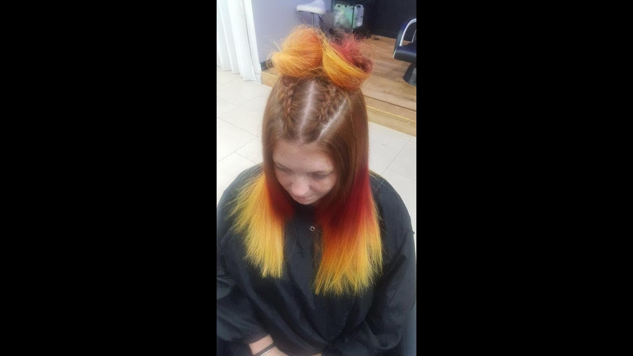 Flame Fire Hair Dye With Bleach Bath Jayhair1 Youtube