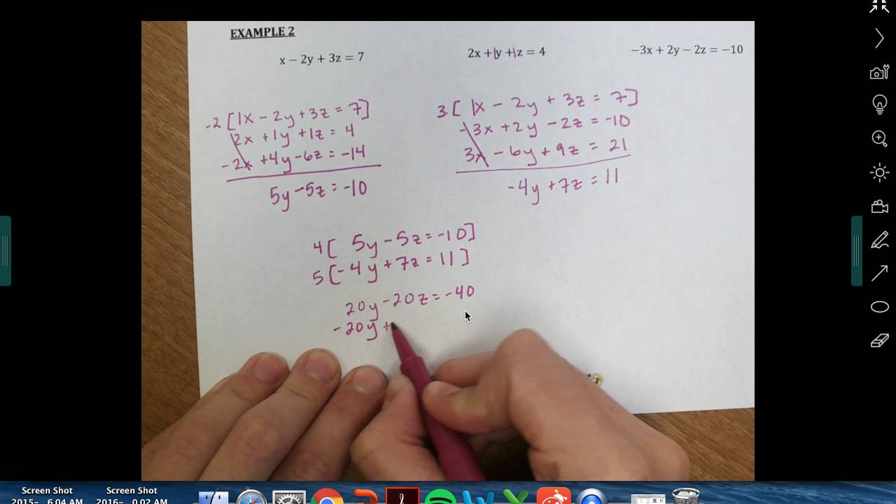 Solving Systems With Three Equations Elimination Youtube