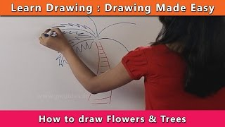 How to draw Trees & Flowers | Learn Drawing For Kids | Learn Drawing Step By Step For Children