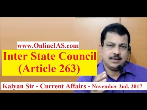 Inter State Council (Article 263) - OnlineIAS.com - November 2, 2017