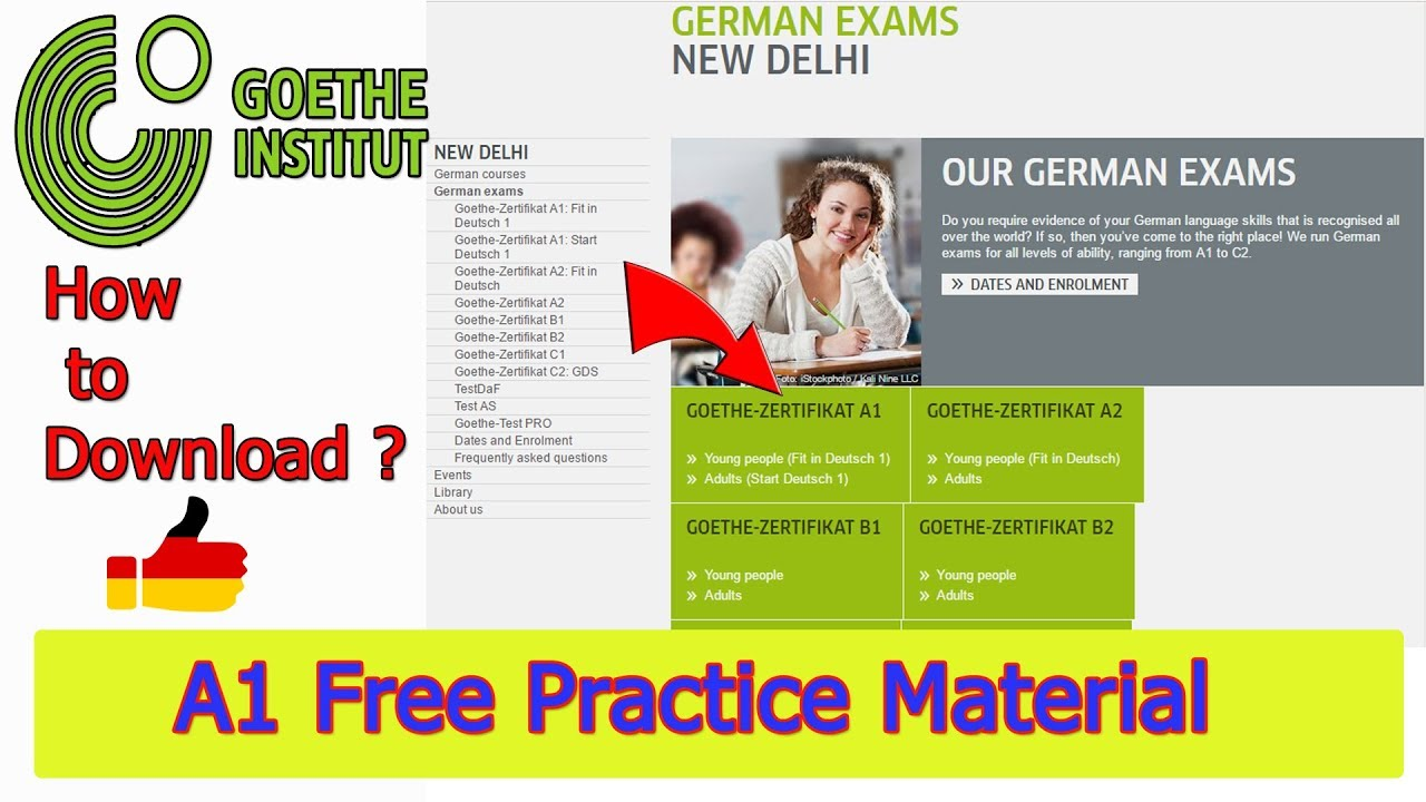 Goethe Institut A1 FREE Sample Papers (How to download