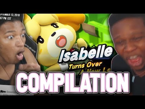 """SUPER SMASH BROS. ISABELLE REVEAL & """"ANIMAL CROSSING"""" SWITCH - REACTION COMPILATION"""