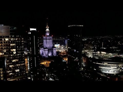 Warszawa nocą z drona 4K / Warsaw at night with drone 4K – Drone X Vision