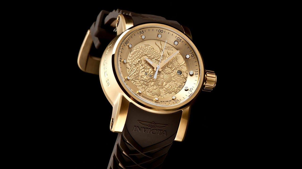 cc9c2303826 Yakuza Relógio Invicta 12790 Dragon Automático Plaque Ouro - YouTube