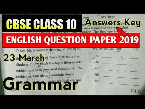 Cbse Class 10 English Question Paper 2019 Solutions Answere Key || Grammar  Section Set 2