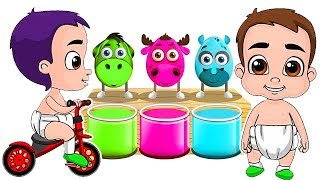 Learn Colors With Little Boy & Animals! Surprise Eggs For Kids! Deer, Donkey, Rhino, Llama