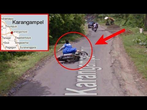 LIHAT !!! Kamera Google street view tak sengaja merekam Ibu-ibu jatuh dari motor