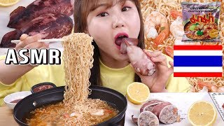 ASMR|태국 마마 슈림프 톰얌꿍 라면과 속초 오징어 순대 먹방~