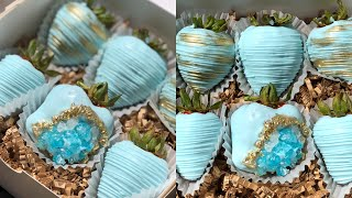 Crystal rock chocolate covered strawberries tutorial 🤩