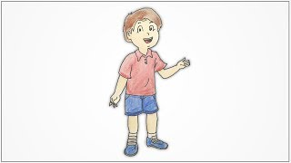 How to draw a boy standing and talking step by step