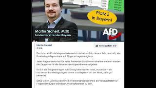 """AFD Abgeordneter 3.Platz in Bayern.Note """"sehr gut"""" für Martin Sichert"""