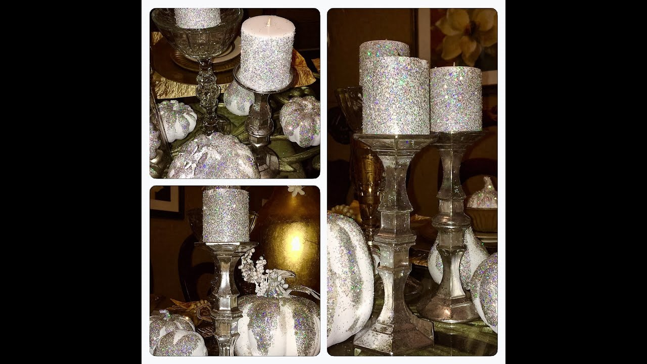 Diy dollar tree faux mercury glass candlestick holders for How to make glass candle holders