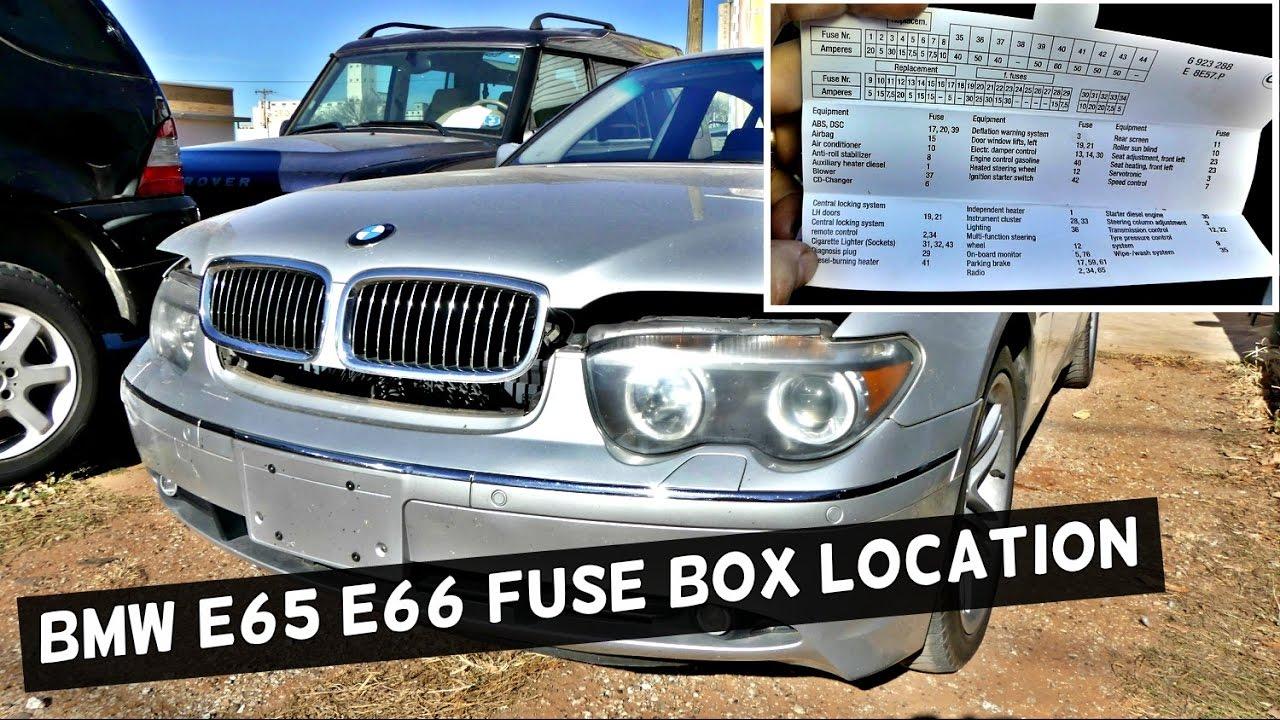 BMW E65 E66 FUSE BOX LOCATION AND DIAGRAM 745i 745Li 750i