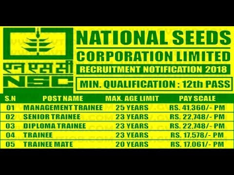 National Seeds Corporation Limited Recruitment 2018 – 258 Vacancy of Trainee