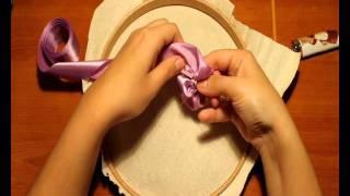 Видео мастер-класс вышивки лентами. Анютины глазки.wmv