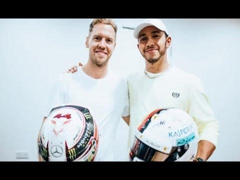El cambio de cascos entre Vettel y Hamilton (26-11-2018) Carburando.com