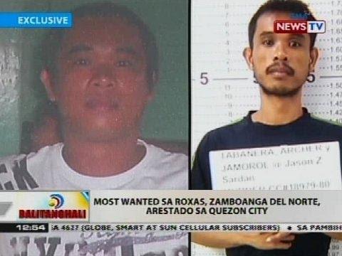 Most wanted sa Roxas, Zamboanga del Norte, arestado sa Quezon City