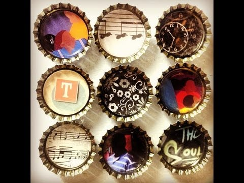 Diy crafts easy bottle cap magnets youtube for How to make bottle cap crafts
