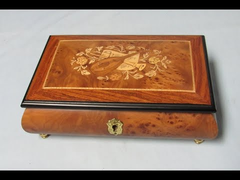 Reuge Music Box that plays the Impossible Dream Musical Jewelry Casket Wood Marquetry instruments