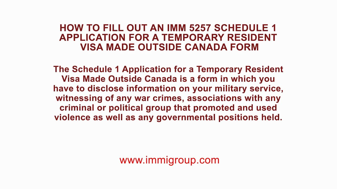 How to fill out an IMM 5257 Schedule 1 Application for a Temporary Application Form Canada Visa on canada home, canada work permit, spain visa form, cyprus visa form, canada tourism, canada employment, canada citizenship form, canada registration form, adventure in letter form, canada visa medical form, green card application form, parent contact information form, usa visa form, canada immigration form, united states embassy application form, canada visitor record, canada tax form, laos visa on arrival form,