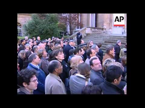 Ceremony to mark handover, after Sarkozy resigns to focus on presidential bid