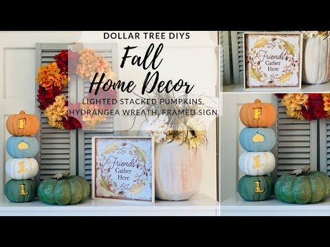 Dollar Tree Fall DIYs|Stacked Lighted Pumpkin DIY|Measure & Mix