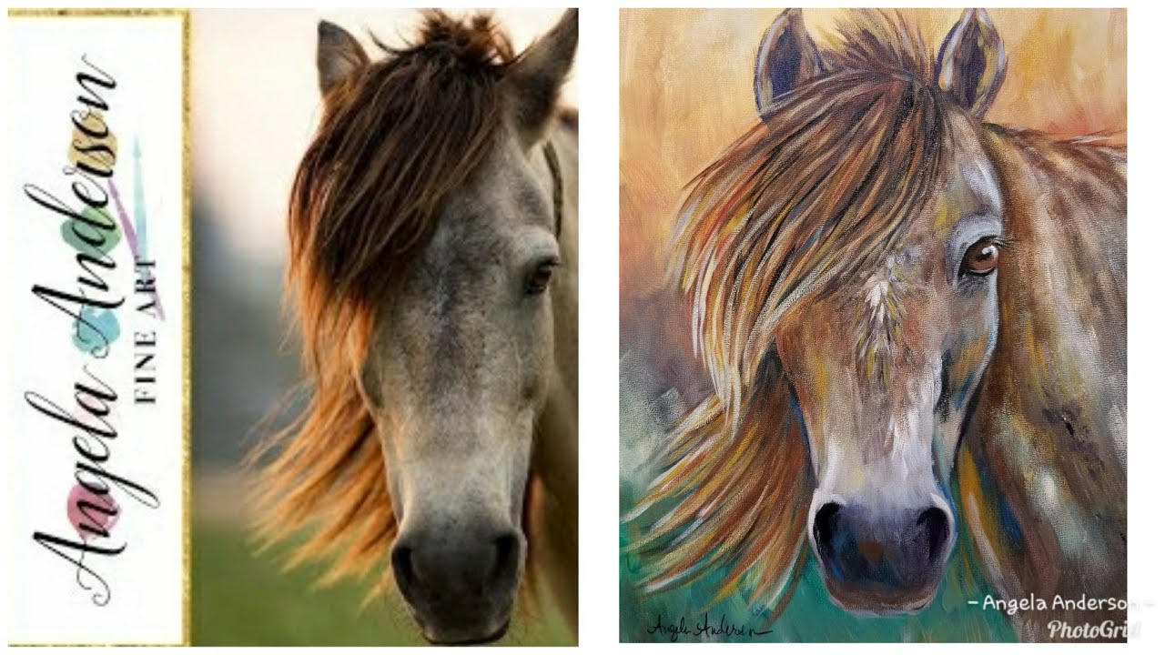 simple horse portrait live acrylic painting tutorial youtube