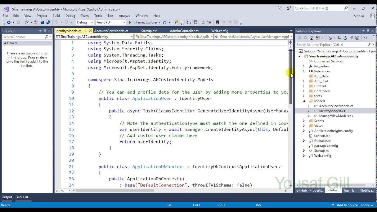 asp net identity mvc implement roles and customize registration