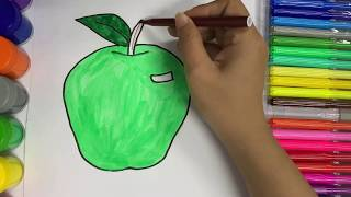 How to draw an apple | Apple Coloring Pages | Apple Painting | Learn Coloring