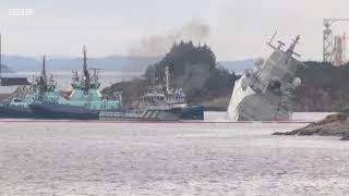 Helge Ingstad  Norway's warship collides with tanker in fjord   SeamanFan.com