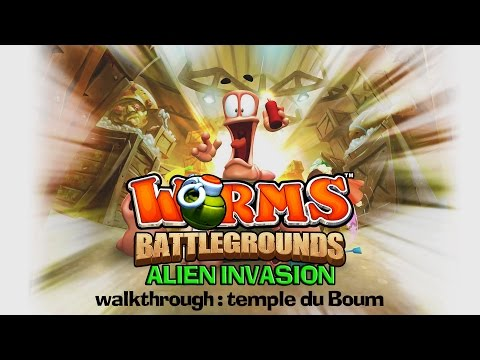 Worms Battlegrounds  DLC Alien Invasion  Walkthrough : Temple du Boum