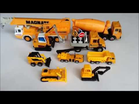 Construction toy vehicles for kids. Learning names and sounds of excavator, bulldozer, etc