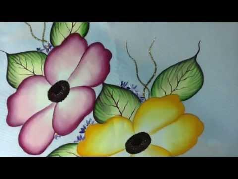 Pintura En Tela Camino De Flores 3 Con Cony Youtube
