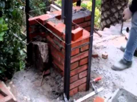 Construcción pilar de obra vista con ladrillo manual Video nº 28
