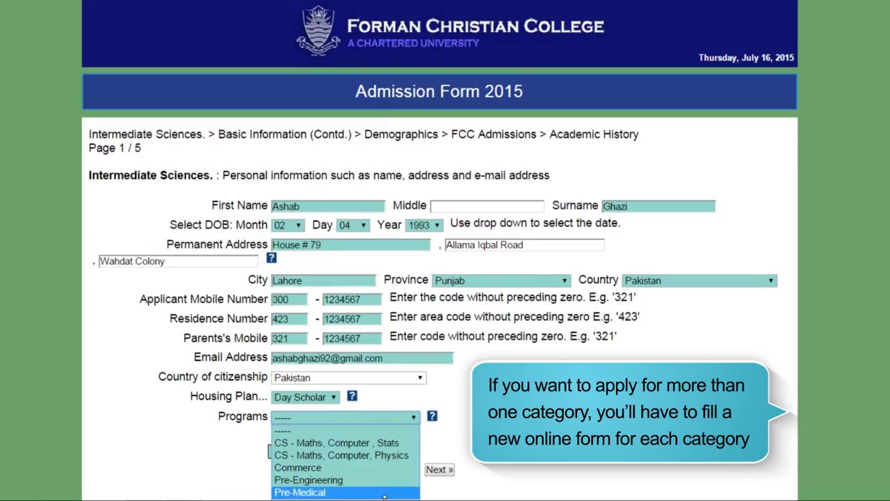 How To Fill The FC College Intermediate Admission Form - YouTube