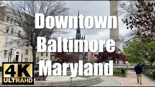 Walking Tour 4K UHD Baltimore Maryland Downtown District RAW | Huge Historic Churches (SMOOTH CAM)