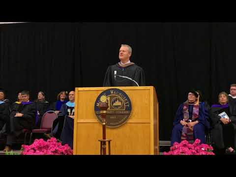 Governor Charlie Baker addresses students at Mount Wachusett Community College