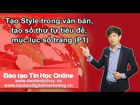 Tạo Style trong văn bản, tạo số thứ tự tiêu đề, mục lục số trang (P1) - Daotaotinhoc.vn