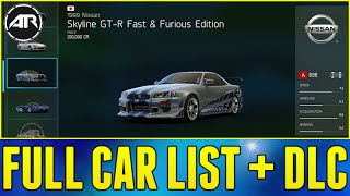 Forza 6 : Full Car List + DLC Cars!!! (VIP Pack, Fast And Furious Pack & More)