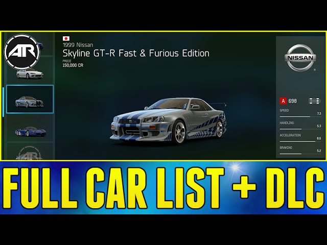 Forza 6 Full Car List Dlc Cars Vip Pack Fast And Furious Pack More